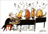 グランドピアノとネコ達